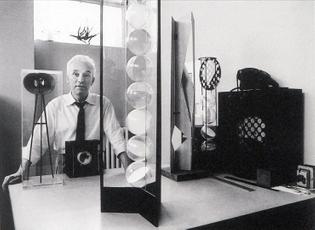 Bruno Munari, in his studio with programmed artworks, Milan, c.1962