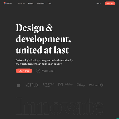 Anima | Design to code | High-fidelity prototypes | Designer-developer collaboration