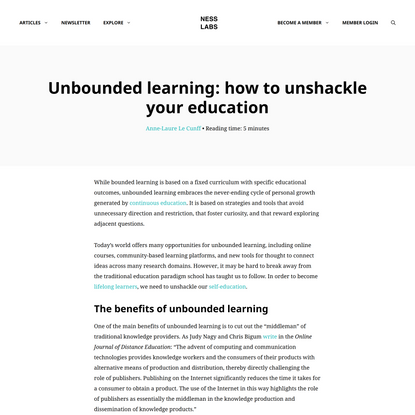 Unbounded learning: how to unshackle your education
