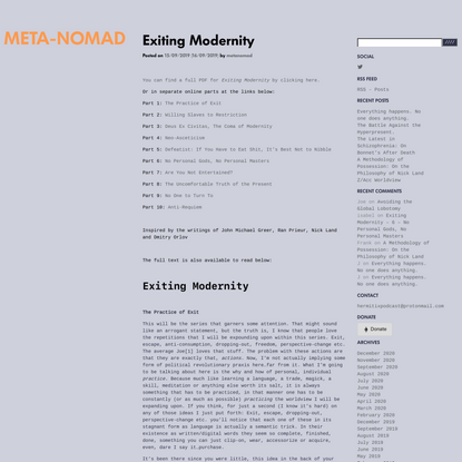 Exiting Modernity