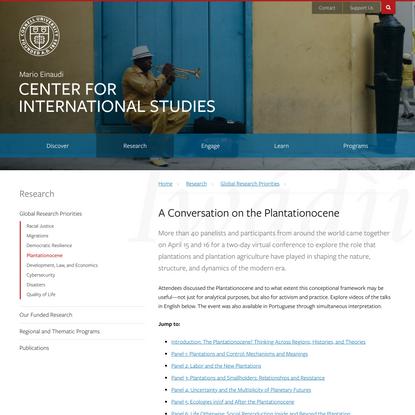 A Conversation on the Plantationocene | Einaudi Center