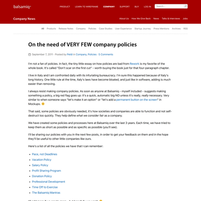 On the need of VERY FEW company policies