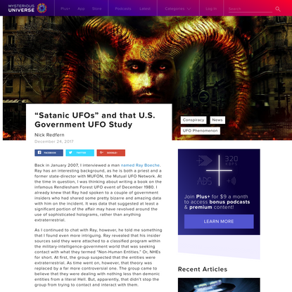 """""""Satanic UFOs"""" and that U.S. Government UFO Study   Mysterious Universe"""