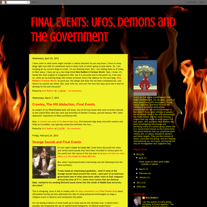 FINAL EVENTS: UFOs, Demons and the Government