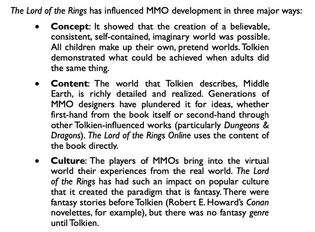 Richard Bartle, The Lord of the Rings and MMO's, from MMOs from the Inside Out, 2015