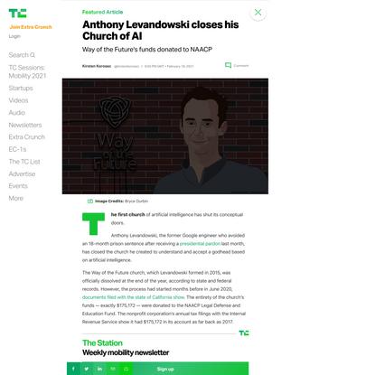 Anthony Levandowski closes his Church of AI – TechCrunch