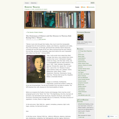 """The Dictionary of Silence and the Diseuse in Theresa Hak Kyung Cha's """"Dictee"""""""