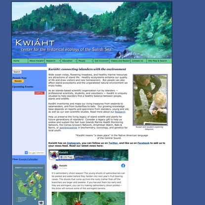 KWIÁHT - Center for the Historical Ecology of the Salish Sea