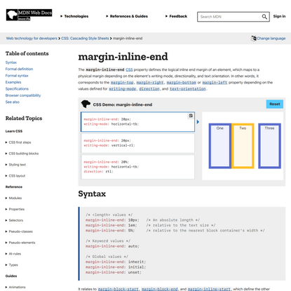 margin-inline-end - CSS: Cascading Style Sheets   MDN