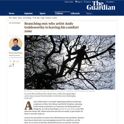 Branching out: why artist Andy Goldsworthy is leaving his comfort zone