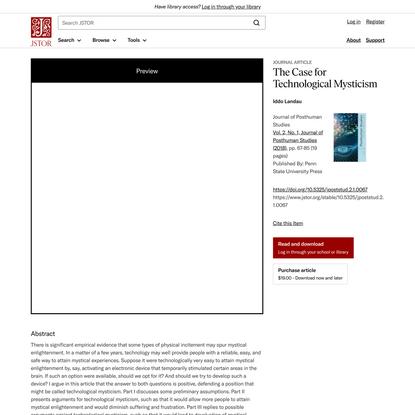 The Case for Technological Mysticism on JSTOR