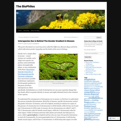 Interspecies Sex is Behind The Gender Gradient in Mosses
