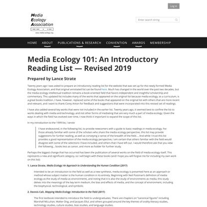 Media Ecology Association - Media Ecology 101
