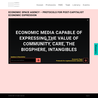 Economic Space Agency - ECSA - A new economic grammar