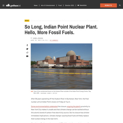 So Long, Indian Point Nuclear Plant. Hello, More Fossil Fuels.