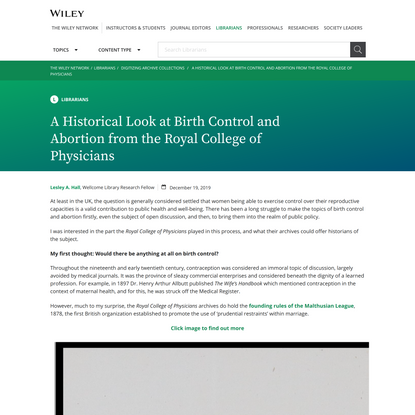 A Historical Look at Birth Control and Abortion from the Royal College of Physicians