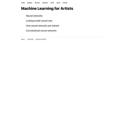 Machine Learning for Artists