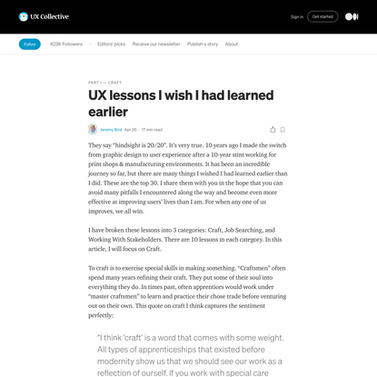 UX lessons I wish I had learned earlier