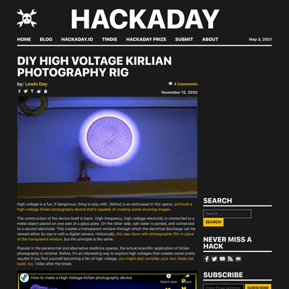 DIY High Voltage Kirlian Photography Rig