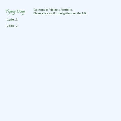 Yiping Dong | Code Portfolio