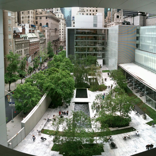 coffee in the moma courtyard, listening to birds among people, reading quietly