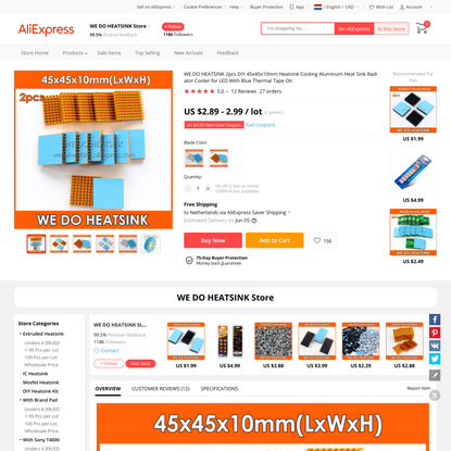 2.89US $  WE DO HEATSINK 2pcs DIY 45x45x10mm Heatsink Cooling Aluminum Heat Sink Radiator Cooler for LED With Blue Thermal T...
