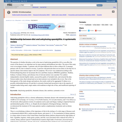 Relationship between diet and ankylosing spondylitis: A systematic review