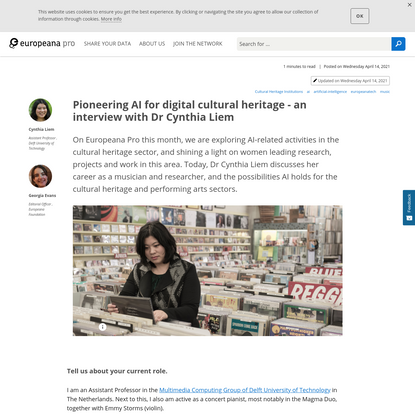Pioneering AI for digital cultural heritage - an interview with Dr Cynthia Liem | Europeana Pro