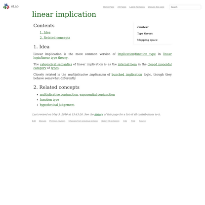 nLab linear implication