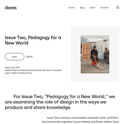 Issue Two, Pedagogy for a New World - Deem