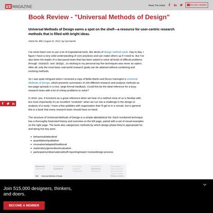 "Book Review - ""Universal Methods of Design"""