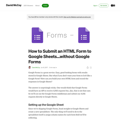 How to Submit an HTML Form to Google Sheets...without Google Forms