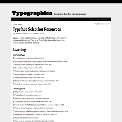 Typeface Selection Resources