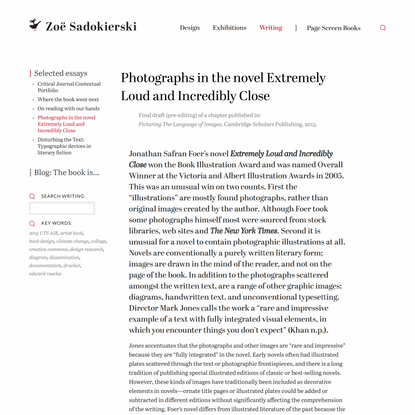 Photographs in the novel Extremely Loud and Incredibly Close – Zoë Sadokierski