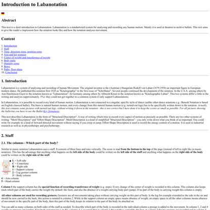 Introduction to Labanotation