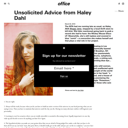 Unsolicited Advice from Haley Dahl