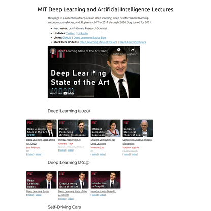 MIT Deep Learning and Artificial Intelligence Lectures | Lex Fridman
