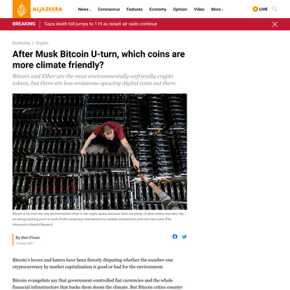 After Musk Bitcoin U-turn, which coins are more climate friendly?