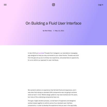 On Building a Fluid User Interface