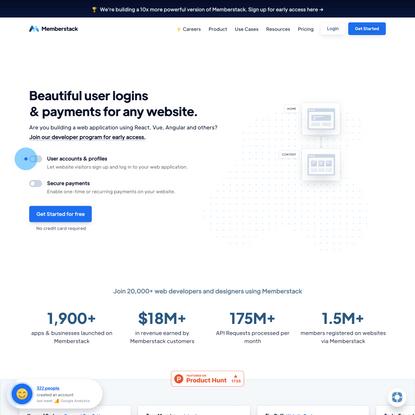 Memberstack – Beautiful user login & payments for modern web applications.