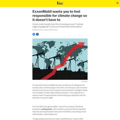 ExxonMobil wants you to feel responsible for climate change so it doesn't have to