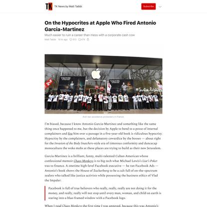 On the Hypocrites at Apple Who Fired Antonio Garcia-Martinez