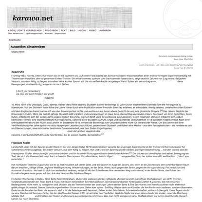 Ausweißen, Einschreiben | karawa.net
