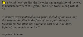 the web's grain, fruitful web