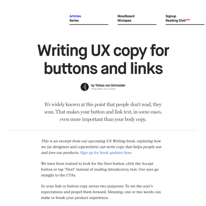 Writing UX copy for buttons and links - DESK Magazine