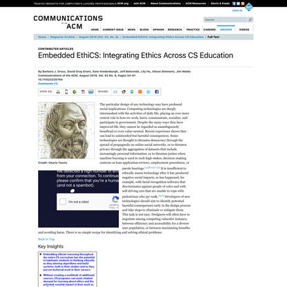 Embedded EthiCS: Integrating Ethics Across CS Education