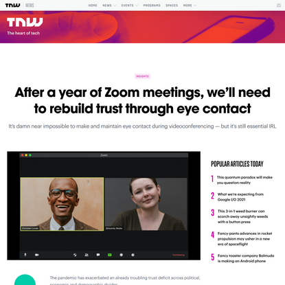 After a year of Zoom meetings, we'll need to rebuild trust through eye contact