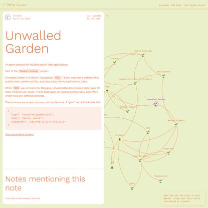 Unwalled Garden 🌱 Digital Garden