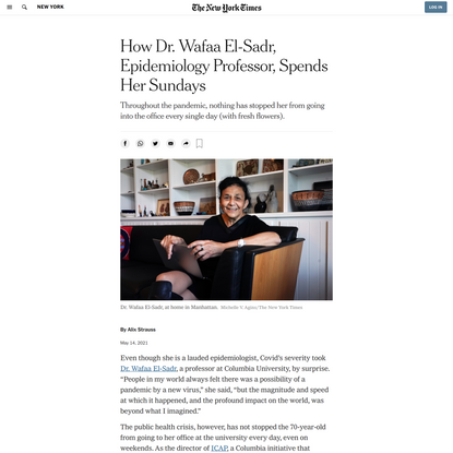 How Dr. Wafaa El-Sadr, Epidemiology Professor, Spends Her Sundays