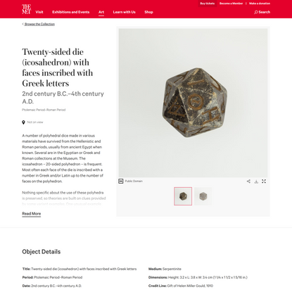Twenty-sided die (icosahedron) with faces inscribed with Greek letters | Ptolemaic Period–Roman Period | The Metropolitan Mu...